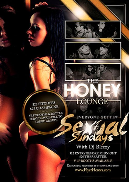 Free Honey Lounge Flyer Template - Http://Ffflyer.Com/Free-Honey
