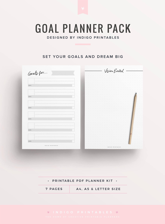 Goal Planner Goal Worksheet Planner Kit Goal Planning Kit Planner Pages Planner Insert