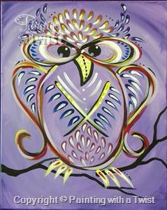 Painting With A Twist #PWAT  #PaintingWithATwist Plum Owl