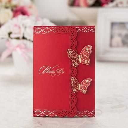 Dhl asian theme laser cut 3d butterfly red wedding for 3d printer wedding invitations
