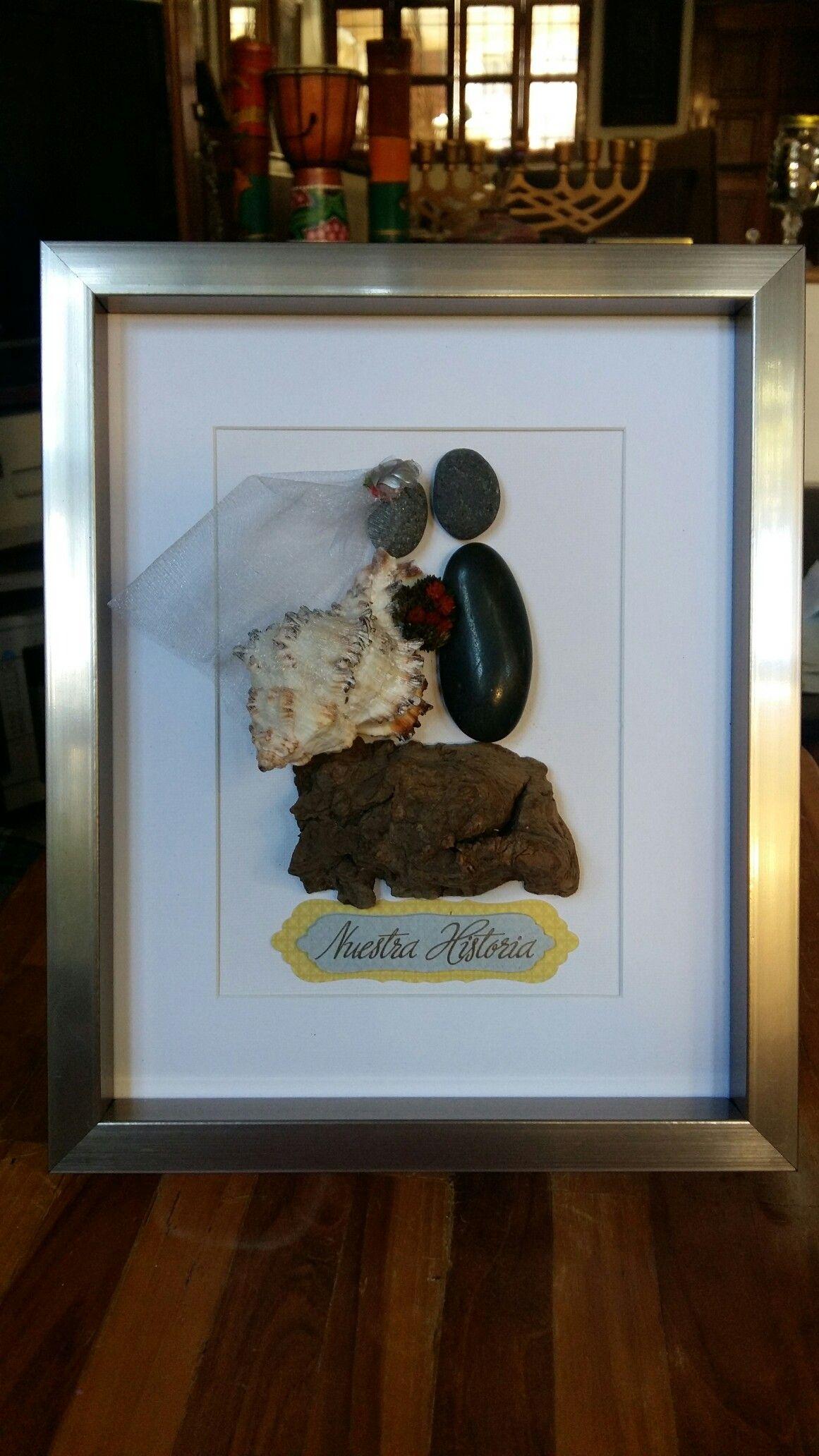 pebblesarteenroca Pareja de esposos en marco. Medida 22 x 27 cms ...