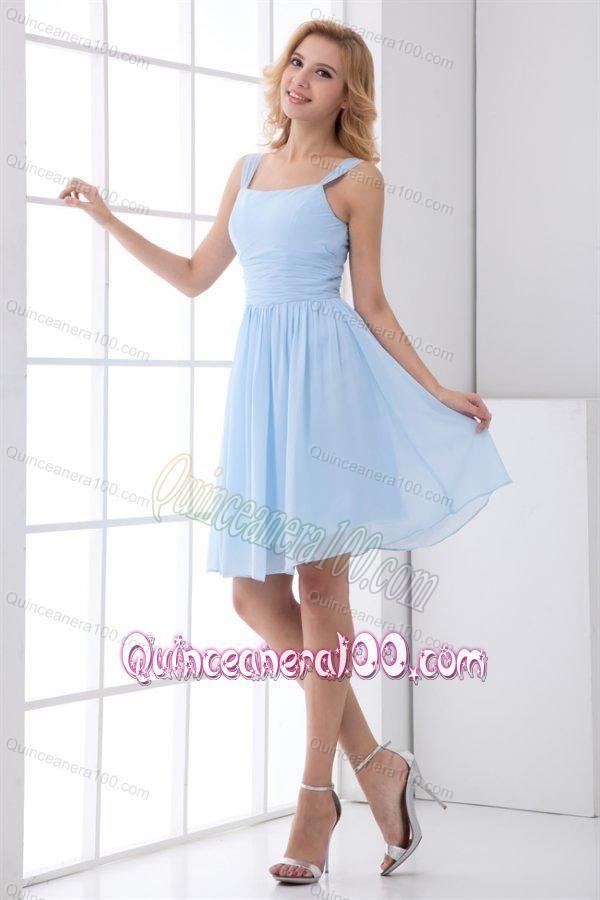 Simple Empire Straps Knee-length Chiffon Light Blue Dresses for ...