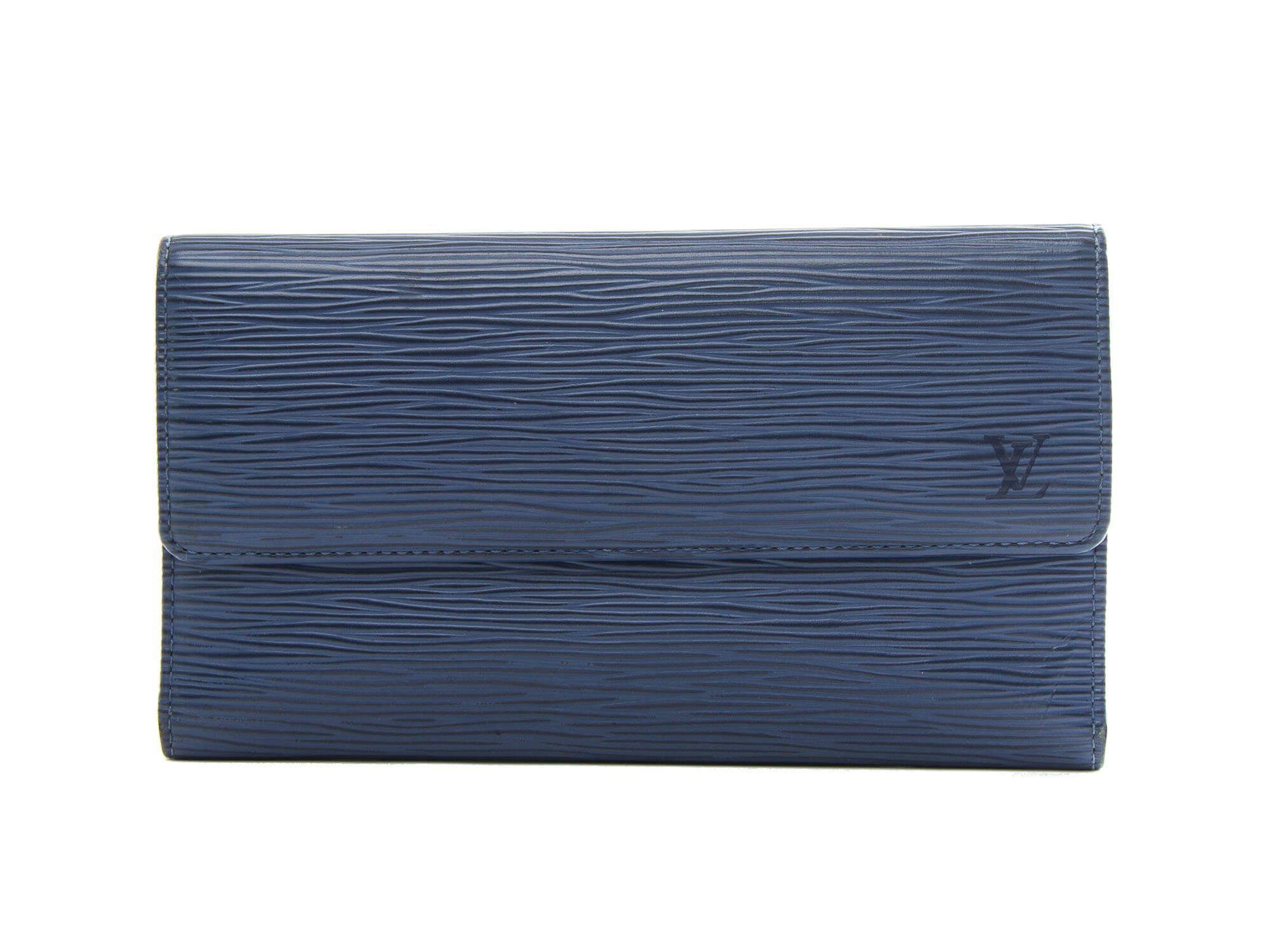 Authentic Louis Vuitton Myrtille Blue Epi Leather Porte-Tresor Wallet