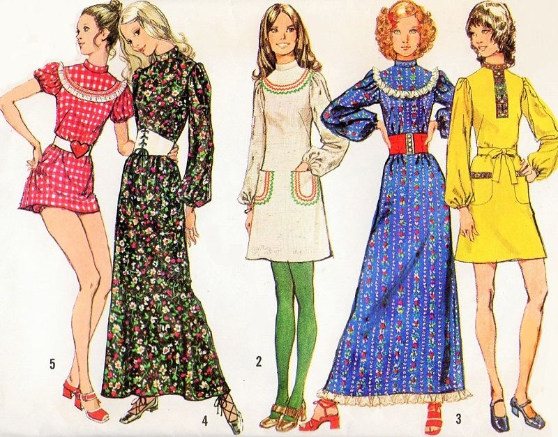 029ec05c579 1970s Cute Dress in 3 Lengths Pattern Simplicity 9763 Micro Mini and  Bloomers to Maxi Granny Gown Lolita Kawaii Style 5 Versions Vintage Sewing  Pattern ...
