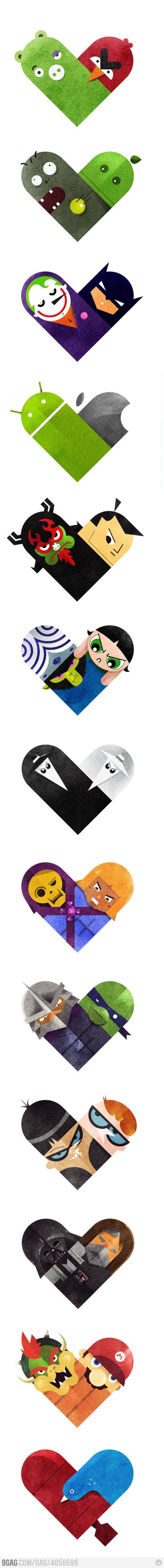 Love and hate vs hearts