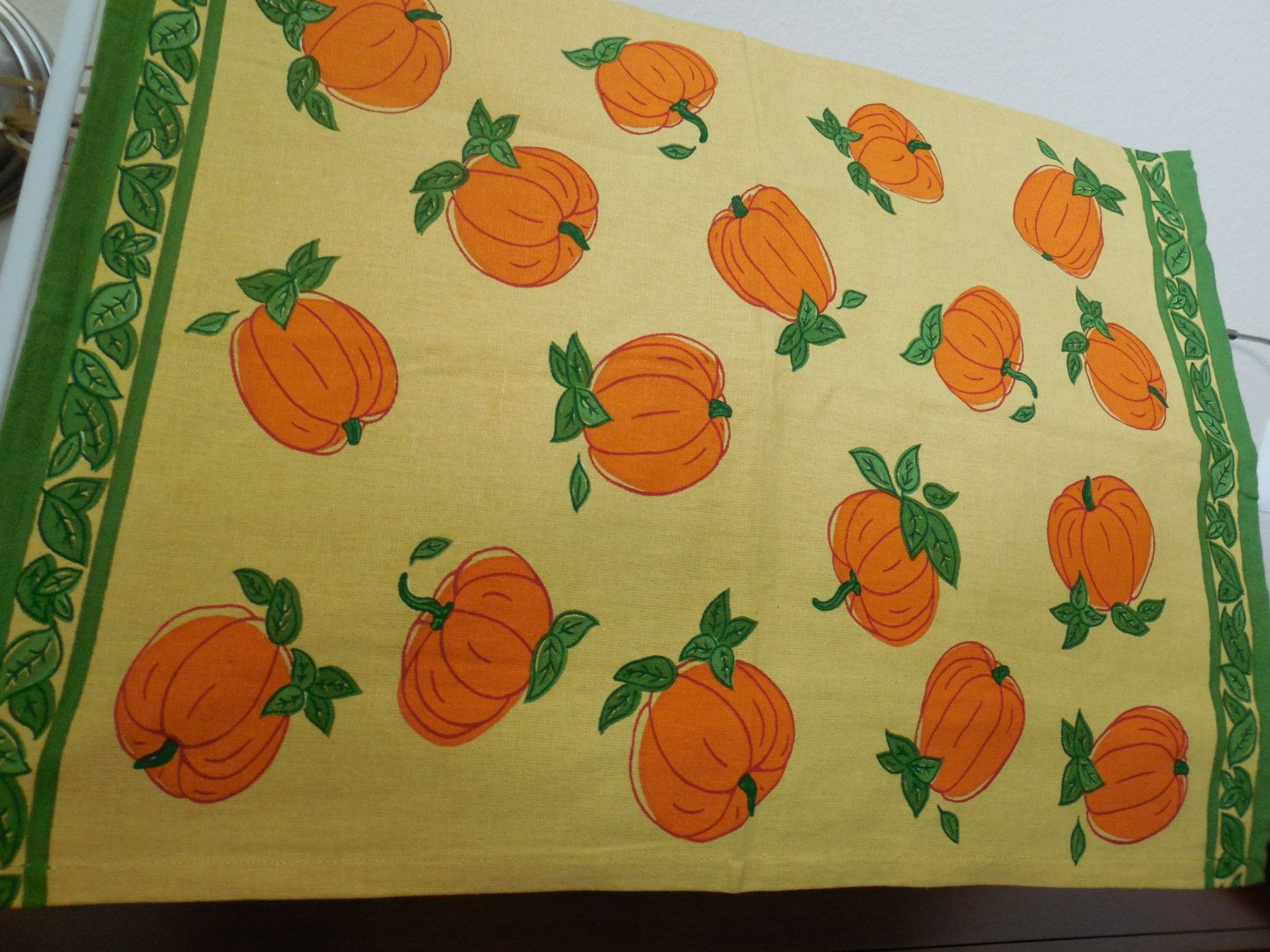 Tea Towels Dish Kitchen Towels Pumpkins Tag All Cotton Cute