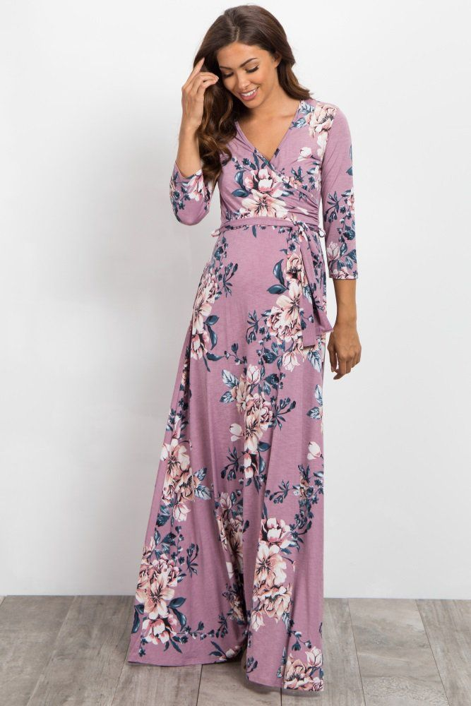 a2628024ff0 Pink Floral Sash Tie Wrap Maxi Dress | Pregnancy outfits | Maxi wrap ...