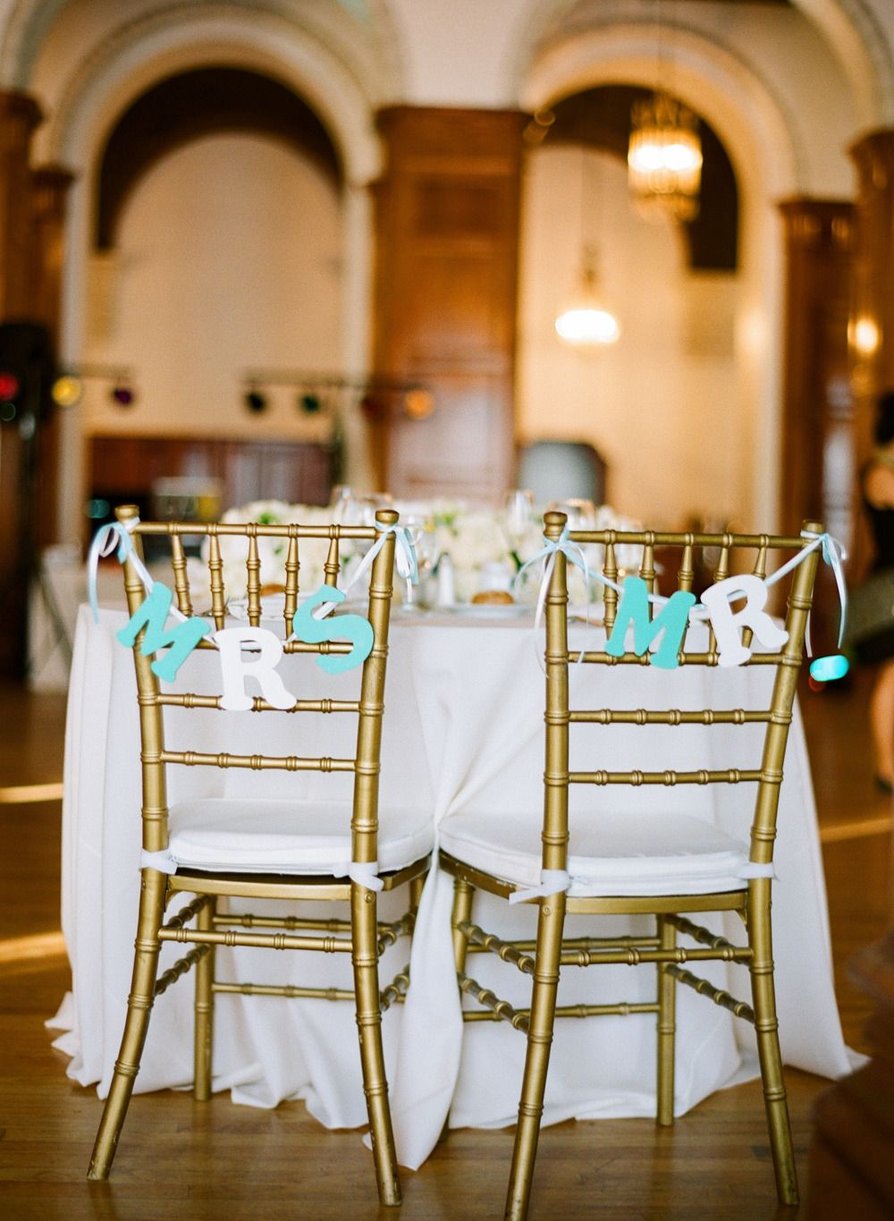 #chair-decor  Photography: Esther Sun Photography - esthersunphoto.com  Read More: http://www.stylemepretty.com/2014/01/13/los-angeles-wedding-at-the-park-plaza/