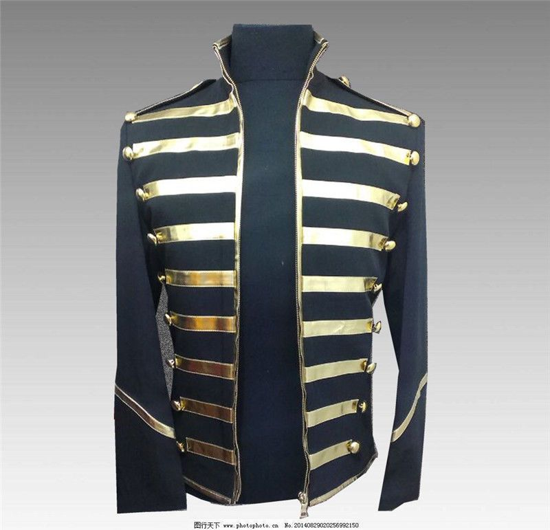 Michael Jackson Cosplay Costume Tops Bar Men s Coat Rock n roll Show Jacket  MJ  Unbrand  BasicJacket  PartyCosplay 80cb978d0c5a
