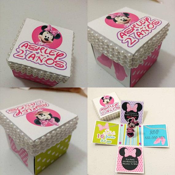 Minnie Mouse Pop Up Invitations Exploding Box Invites Minn