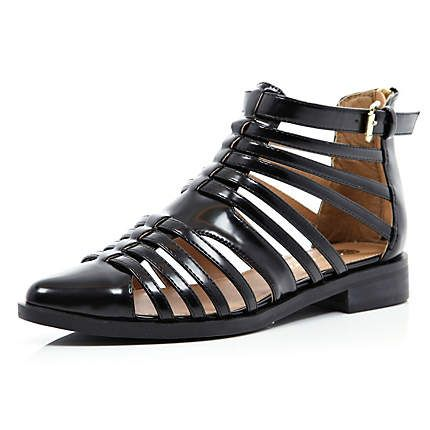 d0f15744a1ad Black patent closed toe gladiator sandals - sandals - shoes   boots - women