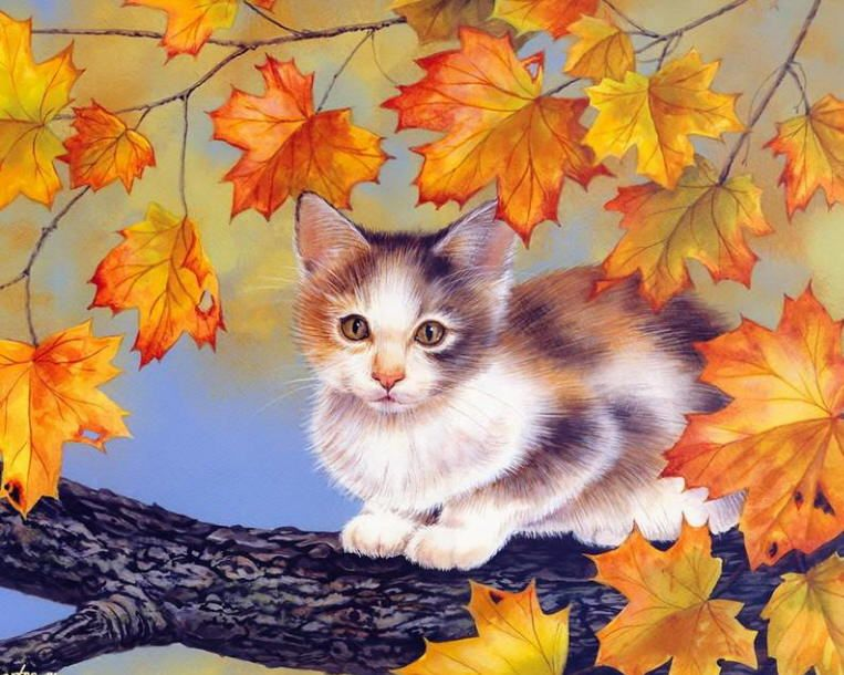 Image result for cats in fall/  art
