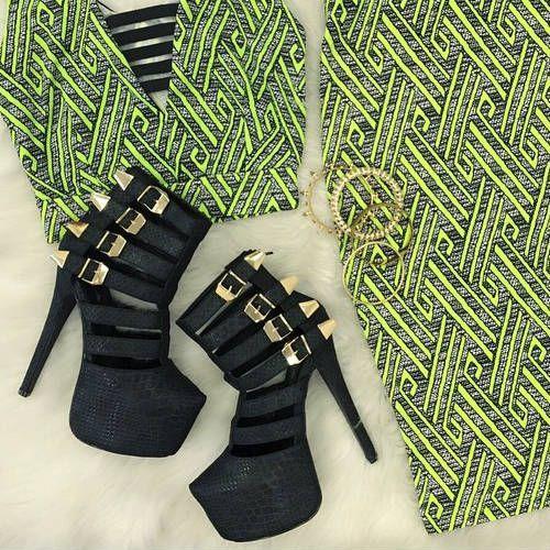 Black Caged Platform Stiletto Heels