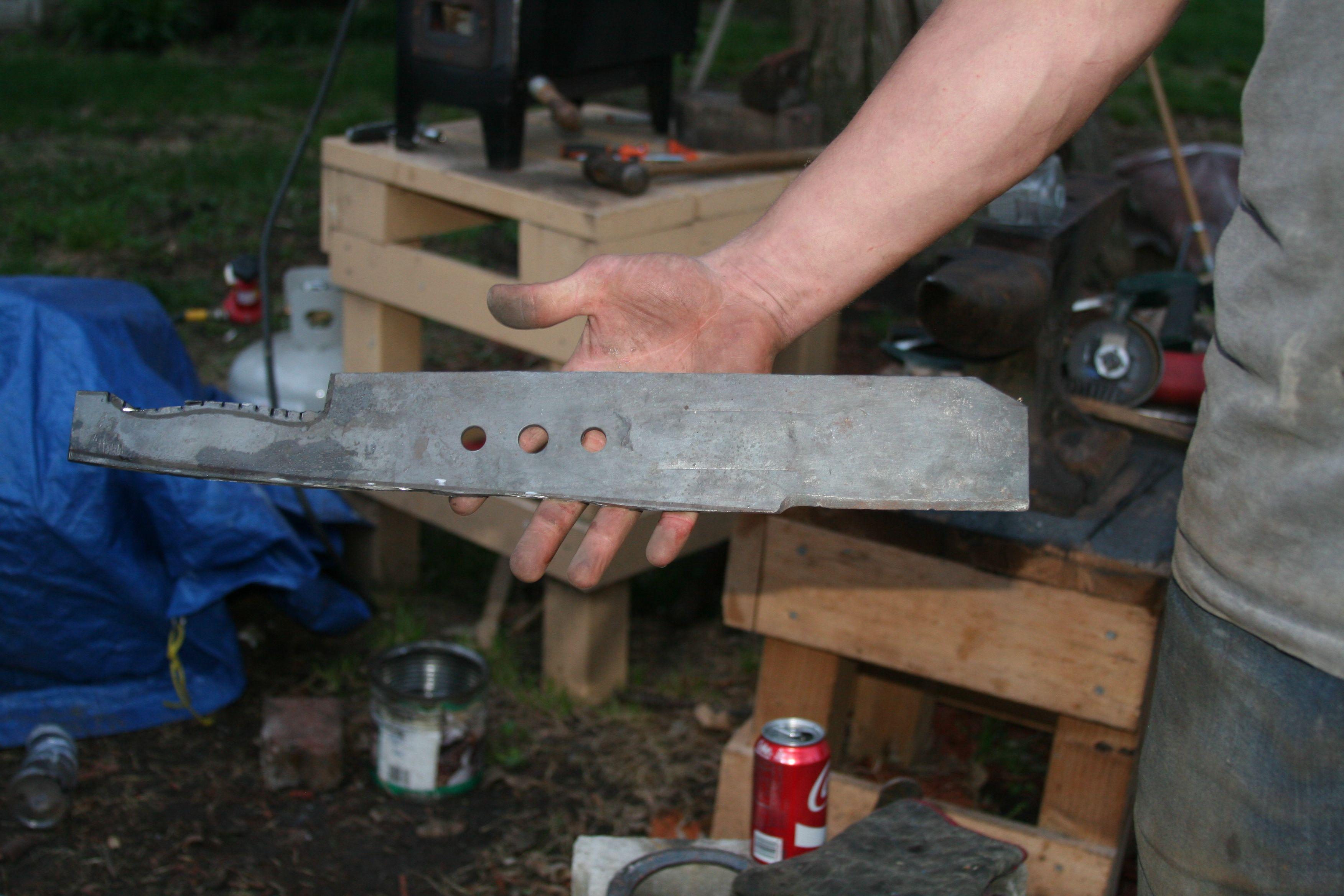 progress on the lawn mower blade machete | Lawn mower ...
