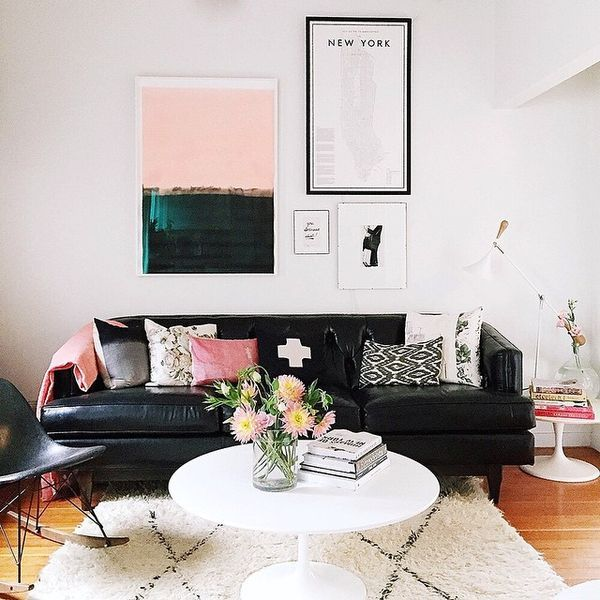 The Perfect Balance Of Black White And Pink Black Furniture Living Room Living Room Color Schemes Black Couch Living Room