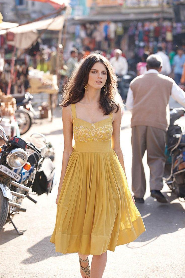 White and yellow summer dress