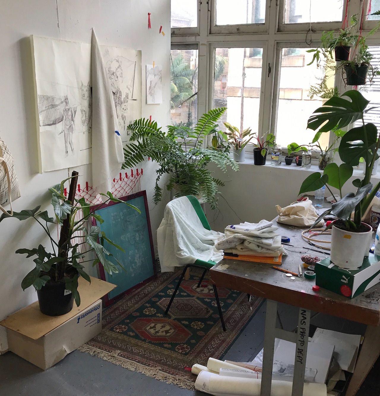 Aesthetic Apartment: Fresh Studio Atelier Plants Art Work Living Space Interior