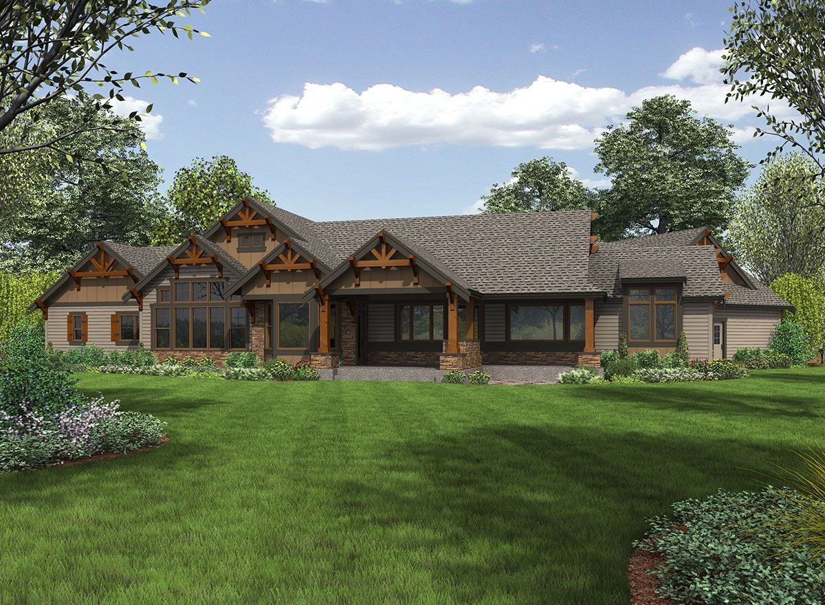 Plan 23609jd one story mountain ranch home with options for Single story ranch homes