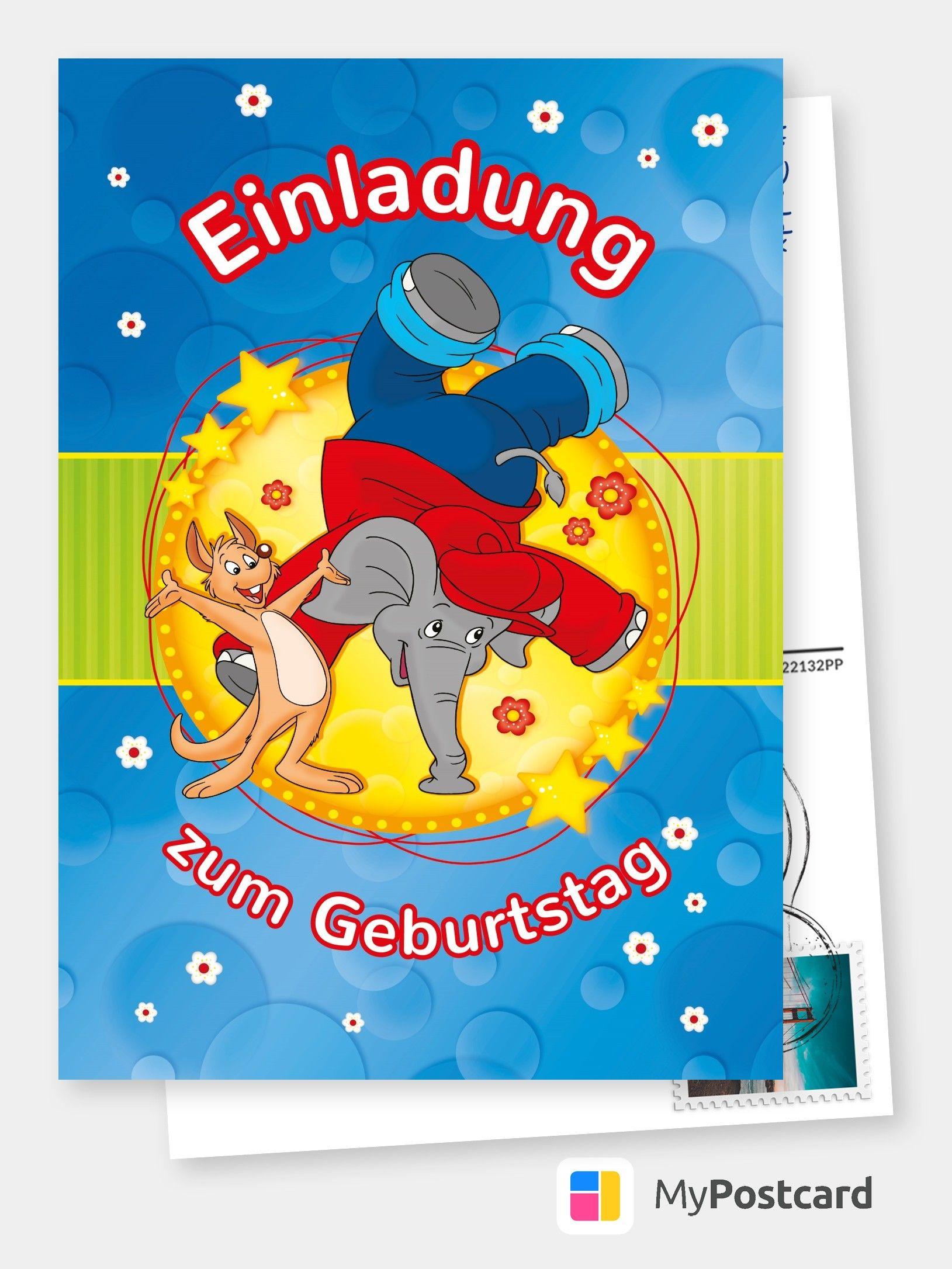 Benjamin Blumchen Einladungskarte Comic Cartoons
