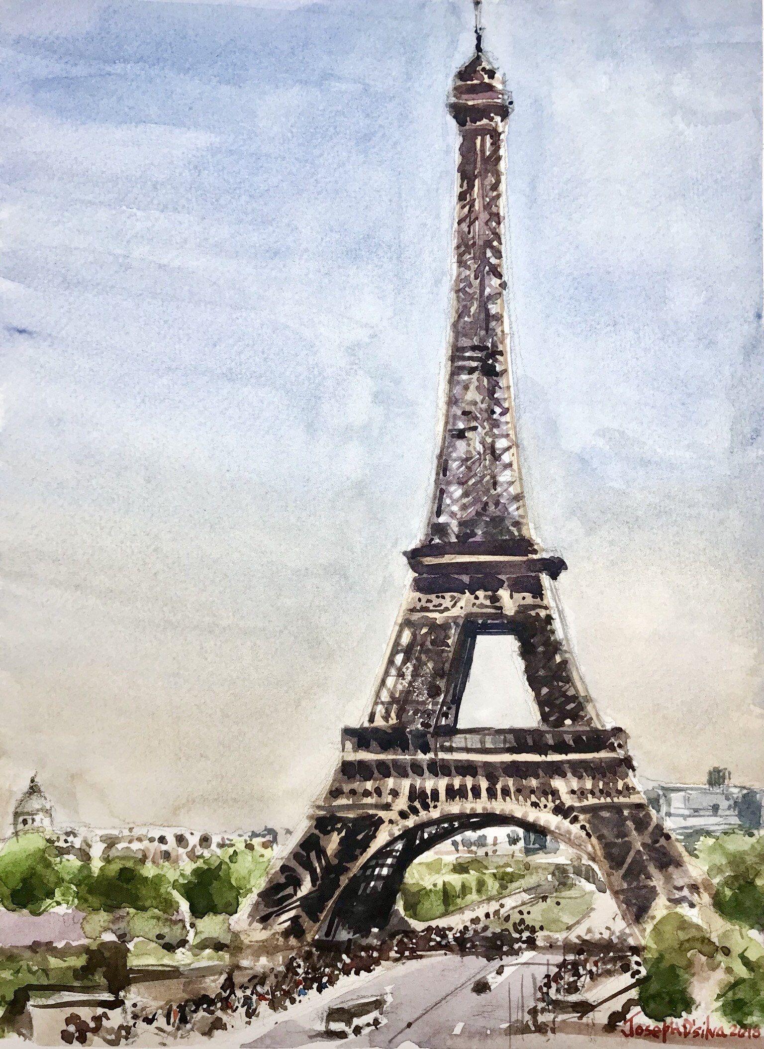 Paris Eiffel Tower Watercolor Painting Parisian Art In 2020