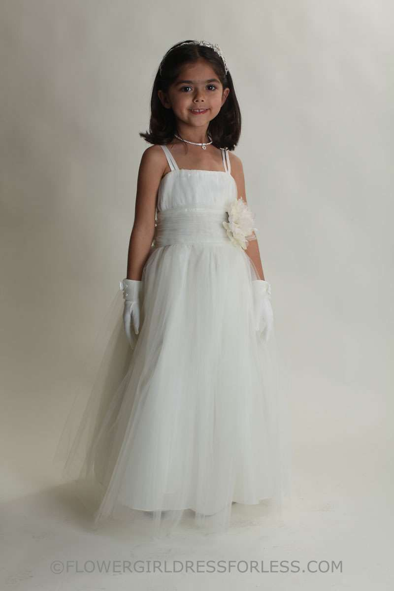 Flower girl dress style spaghetti strap dress with ruched