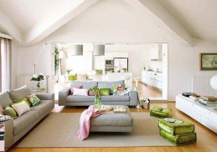 Woonkamer: wit met grijze, roze en groene kleuraccenten - Roze ...
