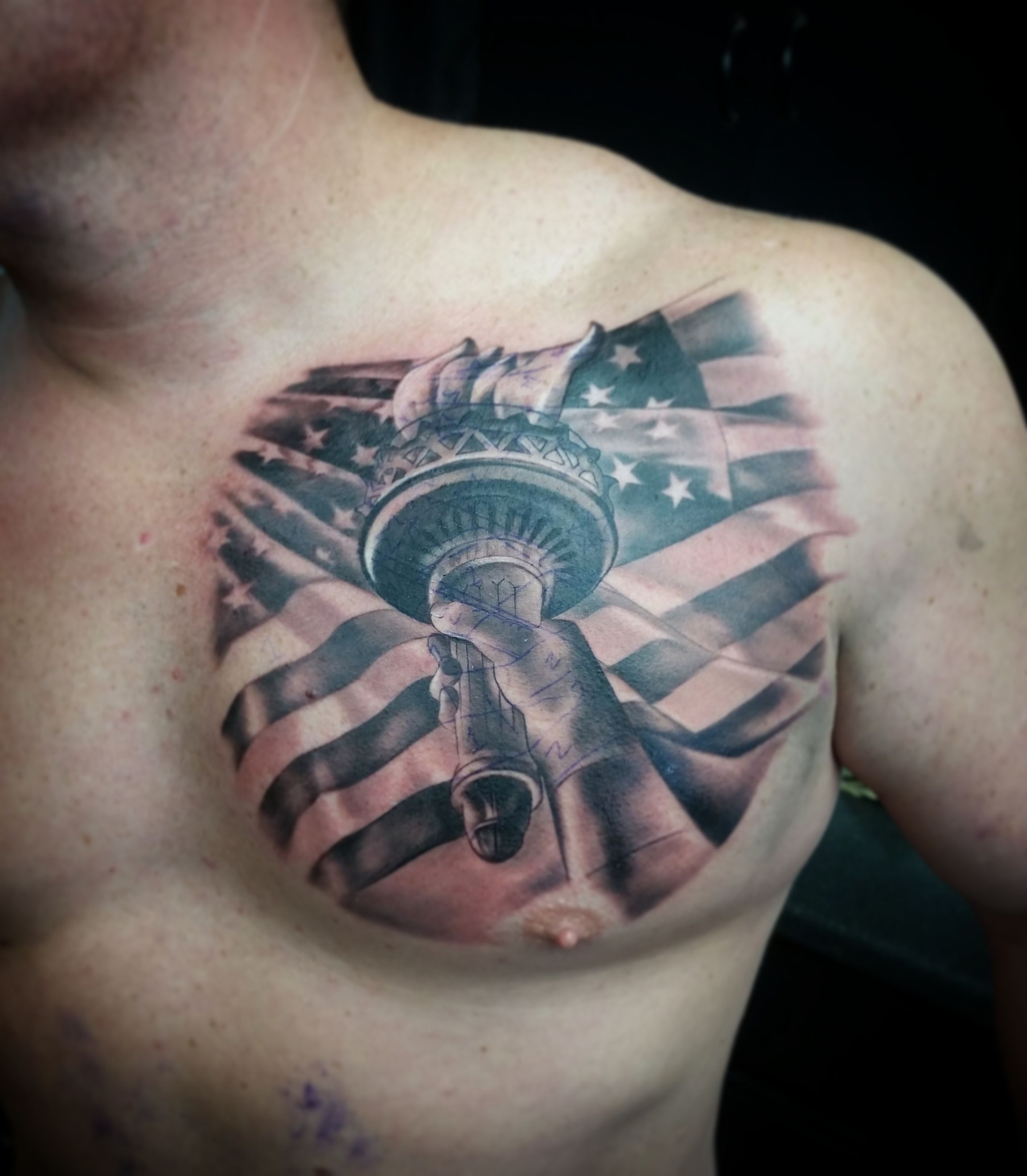 a0b02ffc3178b Tattoos by Wacky Statue of Liberty tattoo American flag chest piece black  and grey