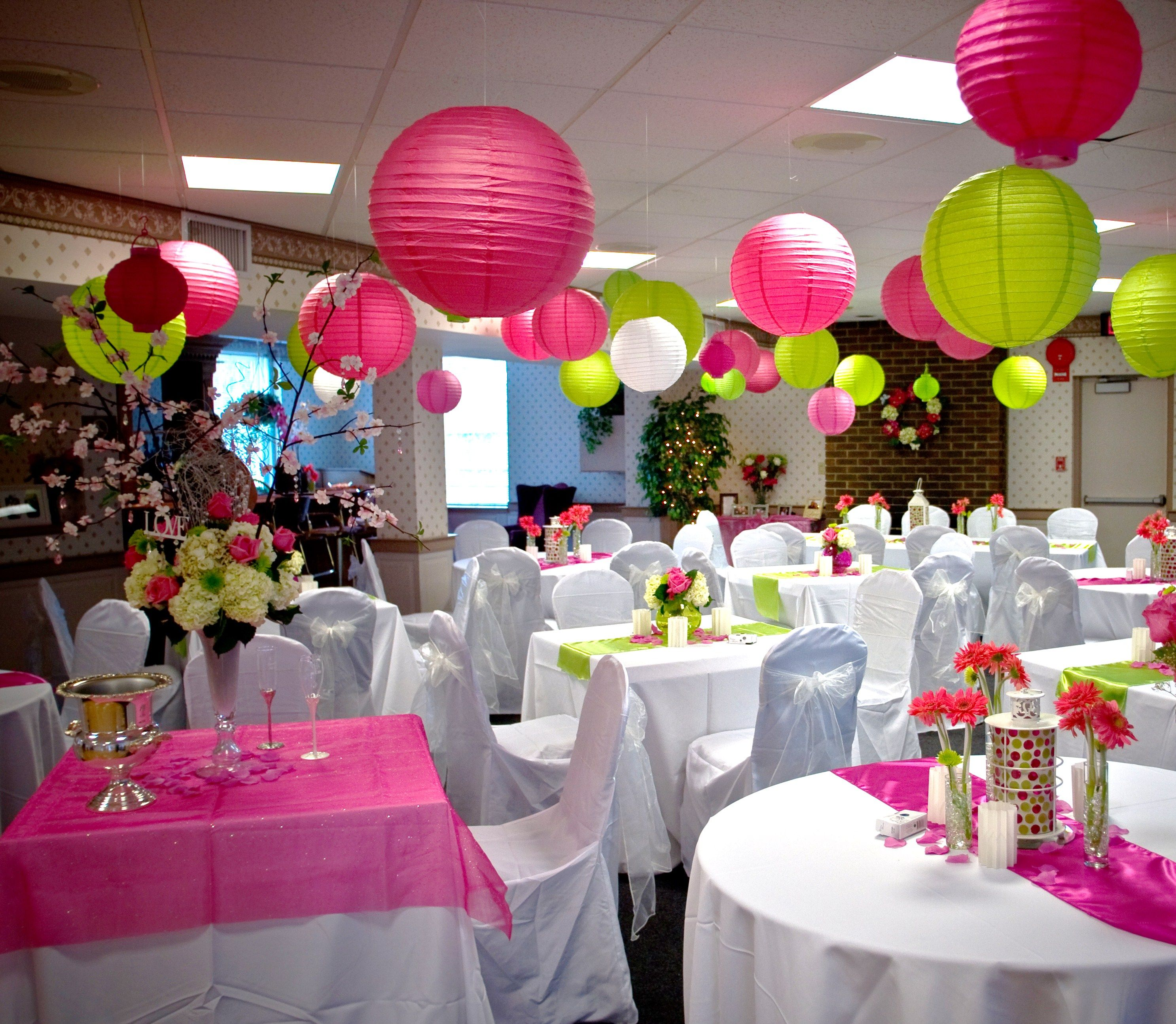 Pink Wedding Centerpieces, Lime