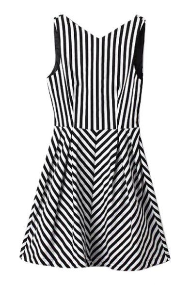 V-Neck Sleeveless Vertical&Inclineed Stripe Pattern Dress