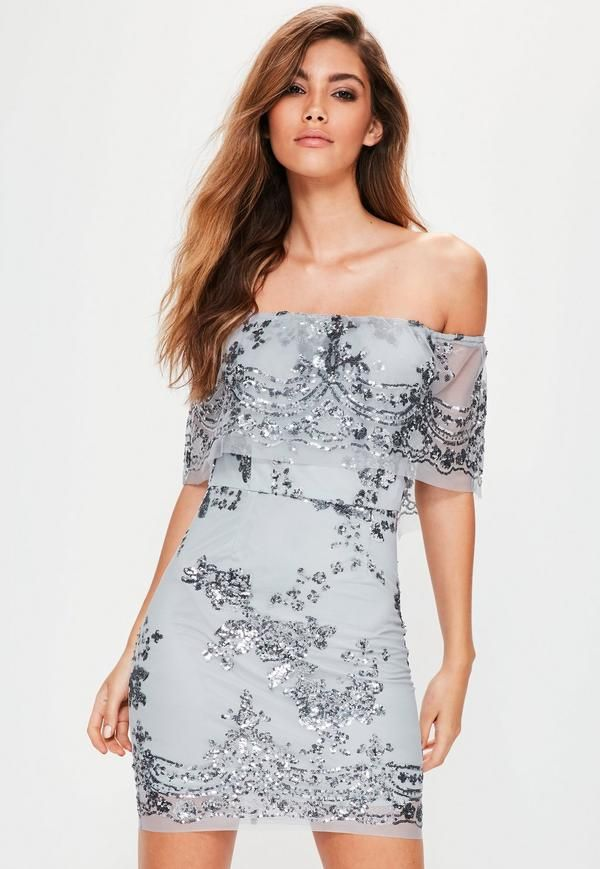 6e187363758 Be the spotlight in this silver sequin dress! With a bardot neckline ...