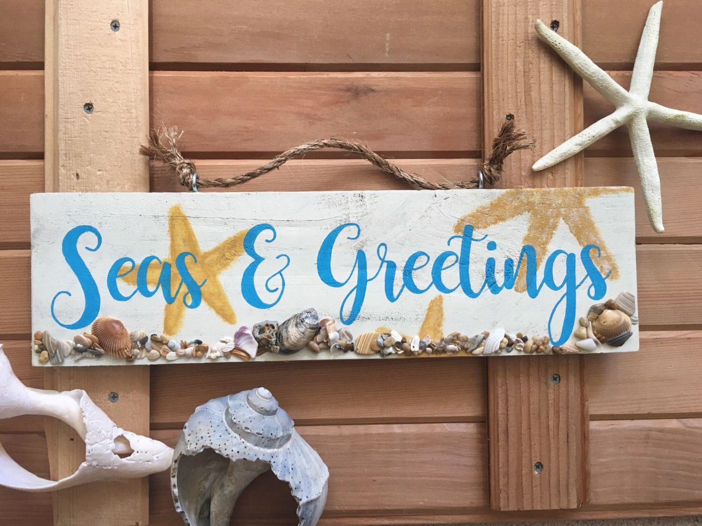 Beach Signs, Beach Decor, Christmas Signs, Christmas Decor, Seas And  Greetings Sign, Holiday Decor, Christmas Decorations, Beach Christmas