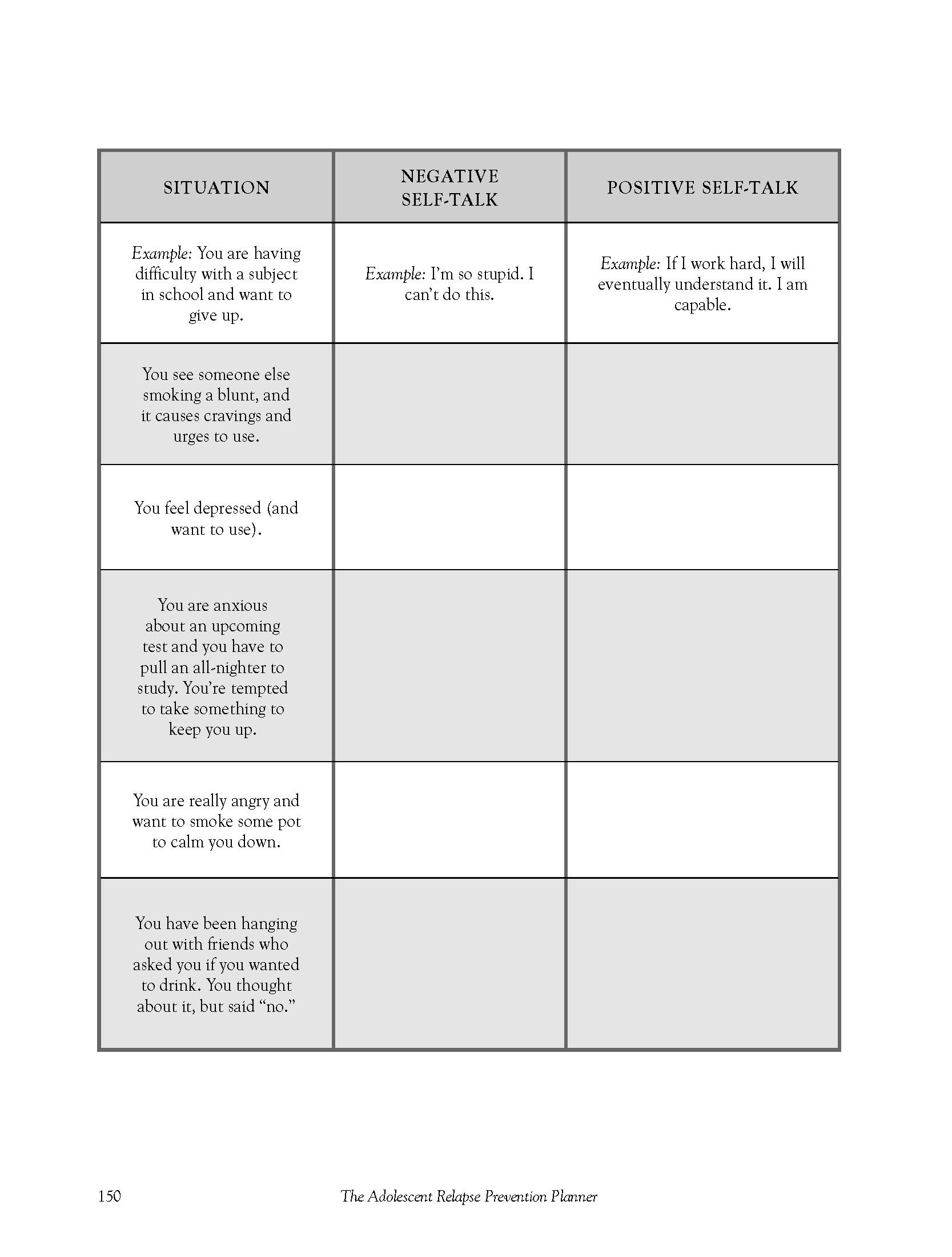 A Multi Use Exercise Worksheet On Self Talking Taken From The Adolescent Relapse