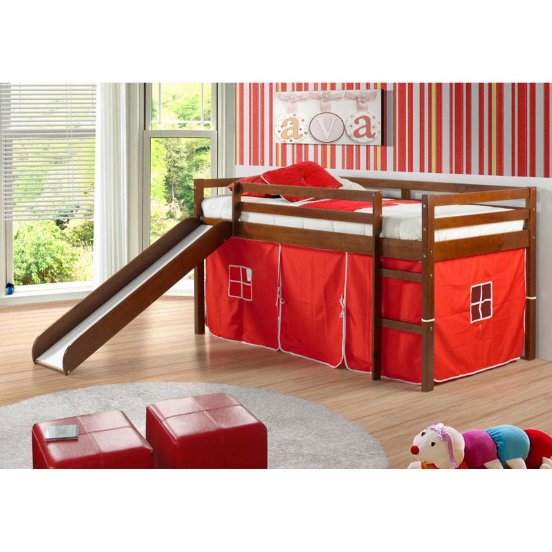 Donco Kids Twin Loft Tent Bed With Slide Light Espresso Bed