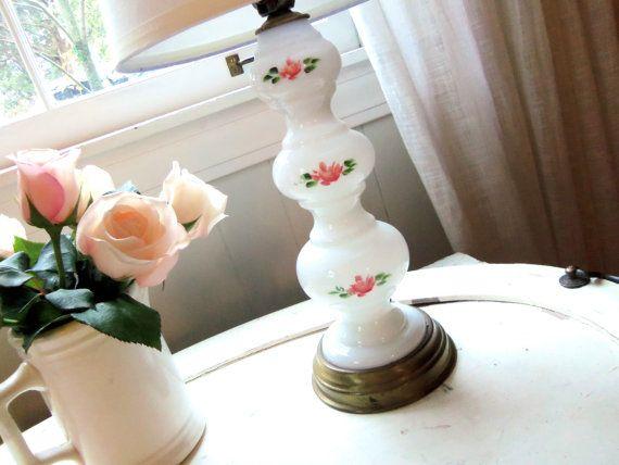 Vintage Milk Glass Lamp Rosebud Lamp by alwaysmaybevintage on Etsy, $19.00