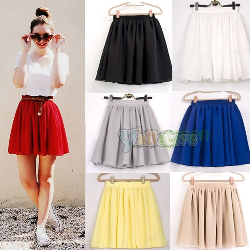 New Retro High Waist Pleated Double Layer Chiffon Skirt Pompon ...