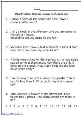 word problem worksheets for first grade math math. Black Bedroom Furniture Sets. Home Design Ideas