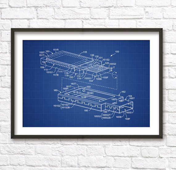 USB Stick (Flash Drive) Schematic Diagram Blueprint Patent Wall Art