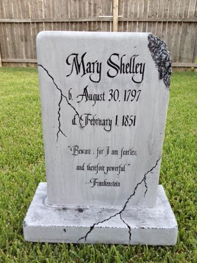 Awesome gravestone idea - would have to make it so the stone was being held together with bolts and brackets - much more fitting!