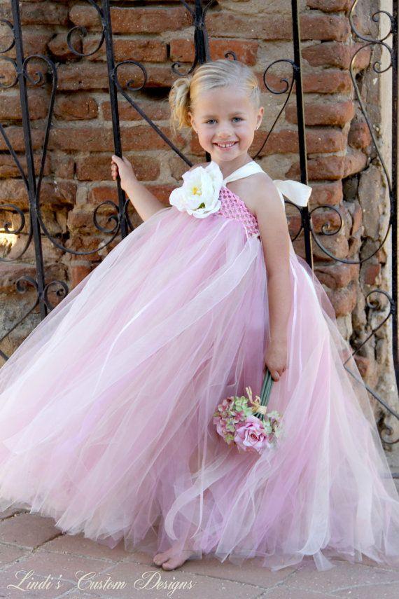 fe67e6fd9d Flower Girl Rose Pink and Champagne Beige Tulle Tutu Dress for ...