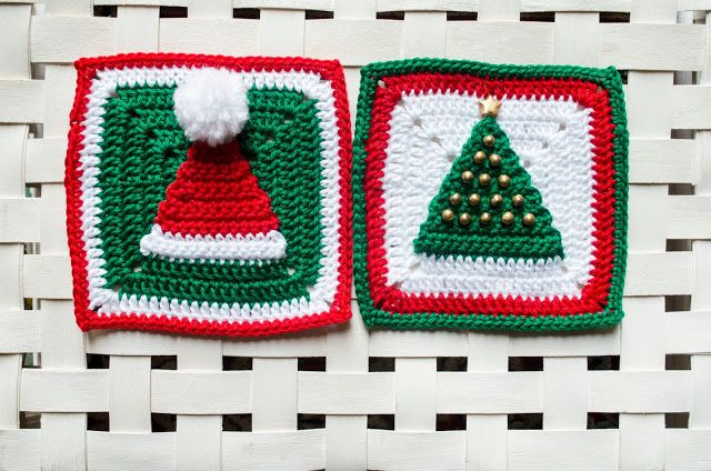 Wiam\'s Crafts: Christmas Hat and Tree Granny Squares - free crochet ...