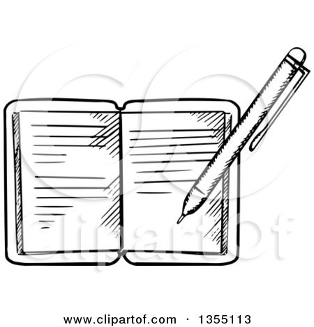 Clipart Of A Black And White Pen Writing In A Journal Royalty Free Vector Illustration White Pen Journal Writing
