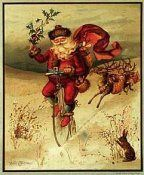 Novice Christmas quiz frontispiece: Illustration of Santa delivering mail on a penny-farthing