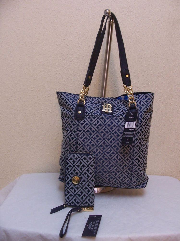 88950f33ff2 Tommy Hilfiger NS Tote 6922963 471 + Carry All 6925204 471 Blue Beige Gold  $176 #TommyHilfiger #Totes