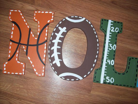 Sports Fan Large Wooden Letters Customized By