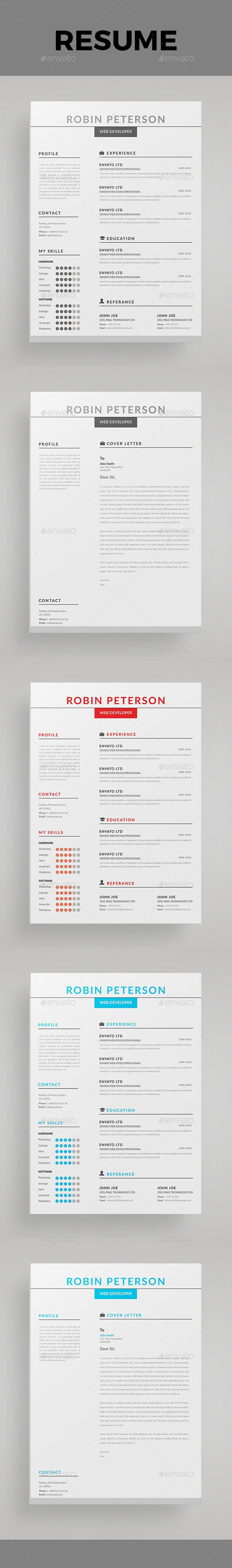 Resume Template PSD, MS Word … | Pinteres…