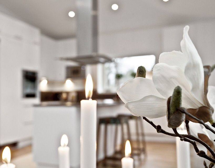 Candles in a scandinavian home