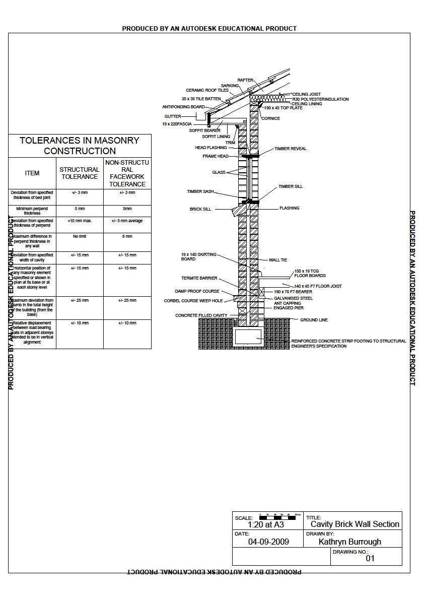 Brick Masonry Wall Section Detail #Brick Pinned by www ...