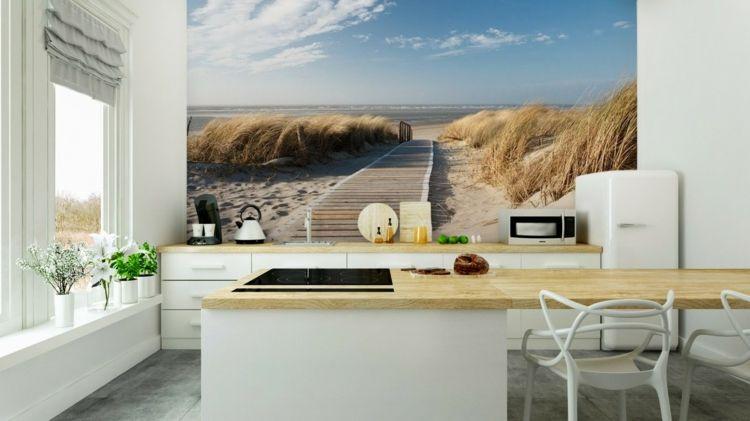 wand-fototapete-küche-idee-rückwand-strand-steg-gräser-meer ...