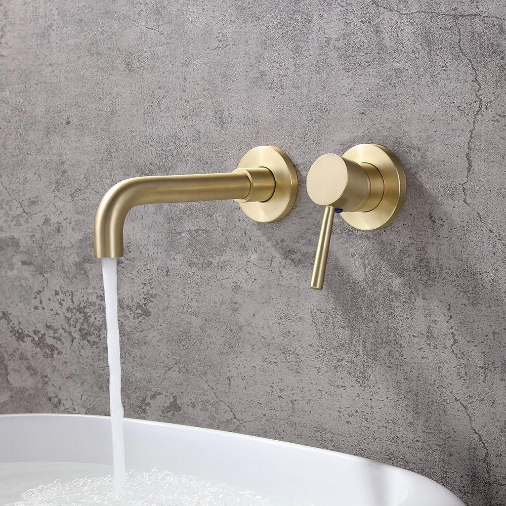 Modern Brushed Brass Single Lever Wall Mounted Bathroom Faucet Swivel Sink Faucet Solid Brass In 2020 Wall Mount Faucet Bathroom Bathroom Mixer Taps Wall Mount Faucet