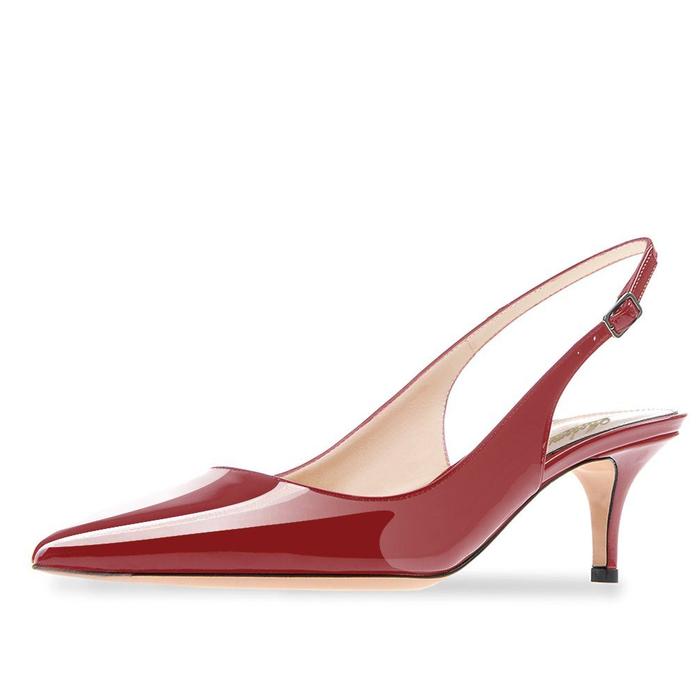 Modemoven Womens Wine Red Patent Leather Pointed Toe Slingback Ankle Strap Kitten Heels Pumps Evenin Ankle Strap Heels Womens Shoes Pumps Ankle Strap Pumps